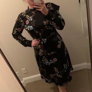 Long Sleeve Black Floral Midi Dress
